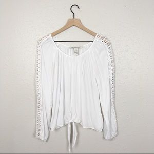 American Rag boho lace tie front peasant blouse